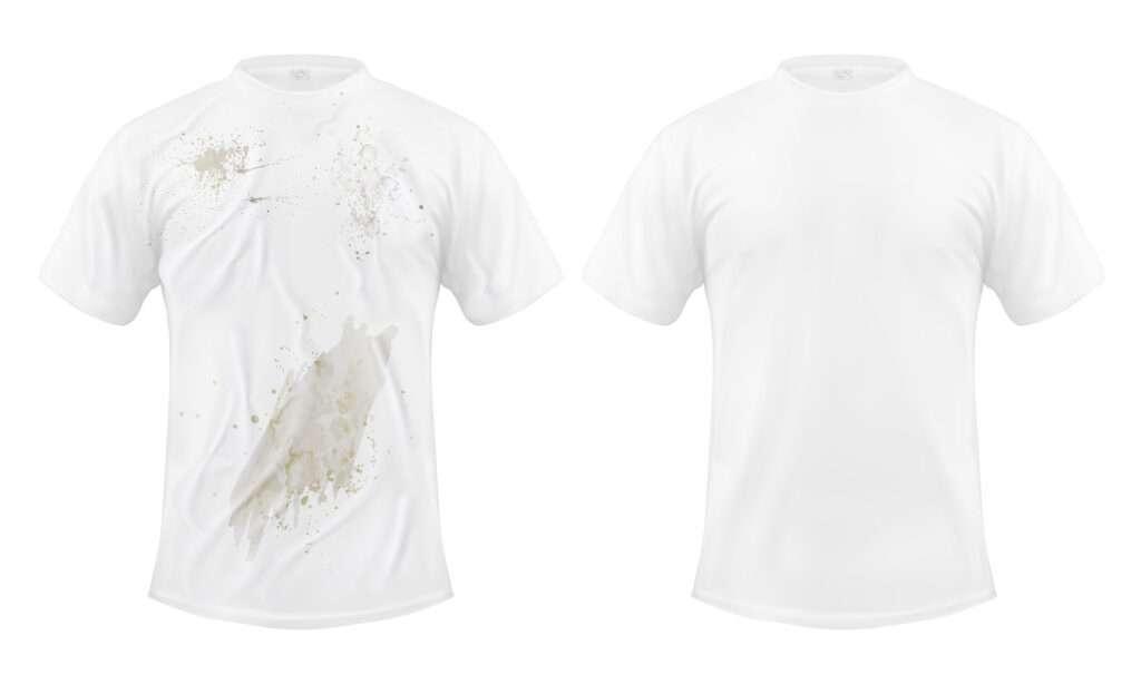 Camiseta, ropa con manchas de suciedad.